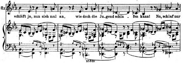 A low passage in the Witch's music.